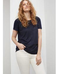 Violeta by Mango | Blue Suede T-shirt | Lyst