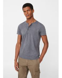 Mango | Gray Henley Cotton T-shirt for Men | Lyst
