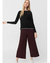 Mango | Black Contrast Trim Sweater | Lyst