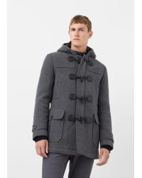 Mango | Gray Quilted Wool-blend Duffle Coat for Men | Lyst
