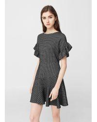 Mango   Black Ruffled Sleeve Dress   Lyst