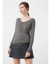 Mango   Gray Openwork Ribbed Sweater   Lyst