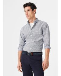 Mango | Blue Slim-fit Textured Cotton Shirt for Men | Lyst