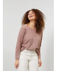 Violeta by Mango | Pink Flecked Cotton-blend Sweater | Lyst