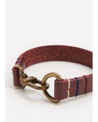Mango - Brown Metal Hook Leather Bracelet - Lyst