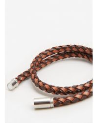 Mango | Brown Double Braided Leather Bracelet | Lyst
