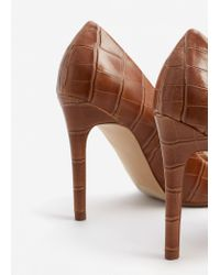 Mango - Brown Embossed High Heel Shoes - Lyst