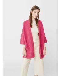 Mango | Pink Striped Texture Cardigan | Lyst