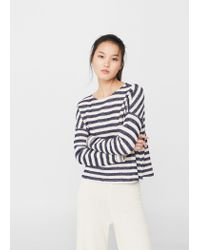 Mango | Blue Striped Cotton-blend Sweater | Lyst