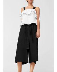 Mango | Black Cropped Palazzo Trousers | Lyst