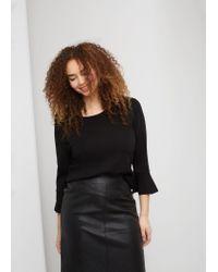 Violeta by Mango | Black High-waist Leather Skirt | Lyst