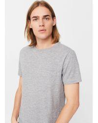 Mango | Gray Flecked Cotton-blend T-shirt | Lyst