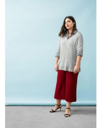 Violeta by Mango Gray Side Slits Sweater