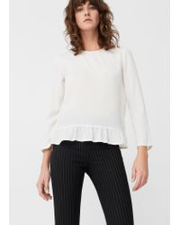Mango - Multicolor Fluted Hem Blouse - Lyst