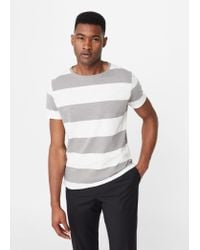Mango | Gray Striped Cotton T-shirt for Men | Lyst