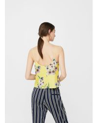 Mango - Yellow Sequin Embroidery Top - Lyst
