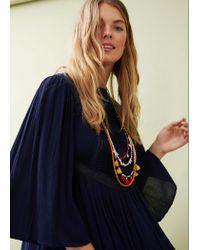 Violeta by Mango | Blue Pleated Panel Dress | Lyst