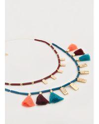 Violeta by Mango - Metallic Pompom Necklace - Lyst