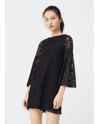 Mango   Black Guipure Dress   Lyst