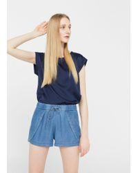 Mango   Blue Denim Tencel® Shorts   Lyst