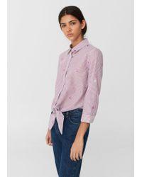 Mango   Purple Knot Printed Shirt   Lyst