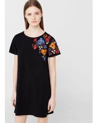 Mango | Black Embroidered Cotton Dress | Lyst