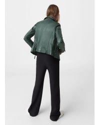 Mango Green Leather Biker Jacket