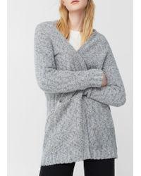 Mango | Gray Chunky Knit Cardigan | Lyst