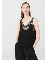 Mango | Black Openwork Detail Top | Lyst