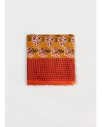 Violeta by Mango | Orange Floral Print Scarf | Lyst