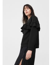 Mango | Black Ruffled Bomber Jacket | Lyst