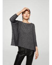 Mango Gray Square Textured Sweater