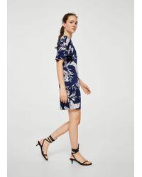 Mango Blue Flowy Printed Dress