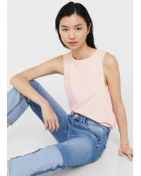 Mango - Pink Cotton Top - Lyst
