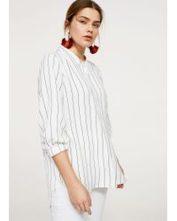 Violeta by Mango - White Flowy Striped Blouse - Lyst