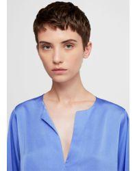 Mango - Blue Flowy Textured Blouse - Lyst
