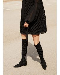Mango Black Over The Knee Heel Boots