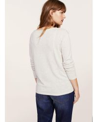 Violeta by Mango Gray Ruffled Cotton Sweater