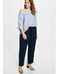 Violeta by Mango Blue Flowy Baggy Trousers for men