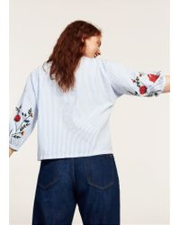 Violeta by Mango - Blue Striped Embroidery Blouse - Lyst
