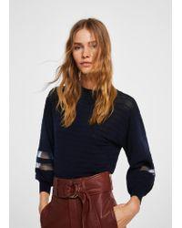 Mango Blue Contrast Panel Sweater for men