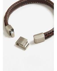 Mango - Brown Braided Leather Bracelet - Lyst