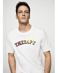 Mango White Organic Cotton Message T-shirt for men