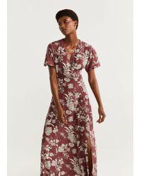 Mango Multicolor Print Wrap Dress