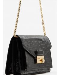 Mango - Black Croc-effect Cross Body Bag - Lyst
