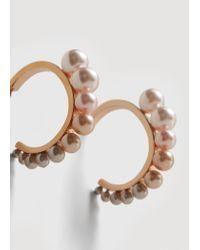 Mango - Metallic Pearl-bead Hoops Earrings - Lyst