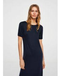 Mango Blue Ruched Detail Dress