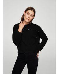 Mango - Black Studded Sweater - Lyst