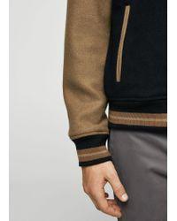 Mango Blue Bicolor Wool Bomber Jacket for men