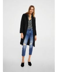 Mango Black Belted Wool Coat